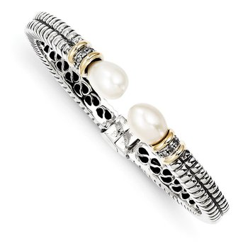 Sterling Silver w/14k FW Cultured Pearl & Diamond Cuff Bracelet