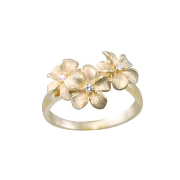 Yellow Gold 3-Plumeria Ring