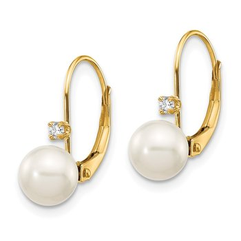 14K 6-7mm Round FW Cultured Pearl .06ct. Diamond Leverback Earrings