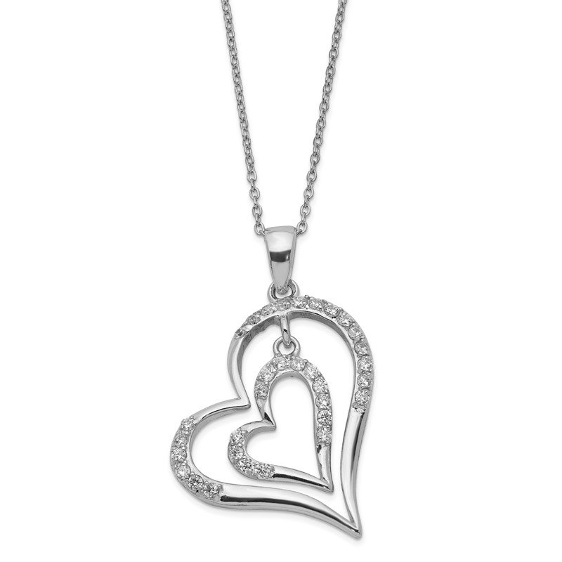Sterling Silver Rhodium-plated CZ Double Heart Necklace