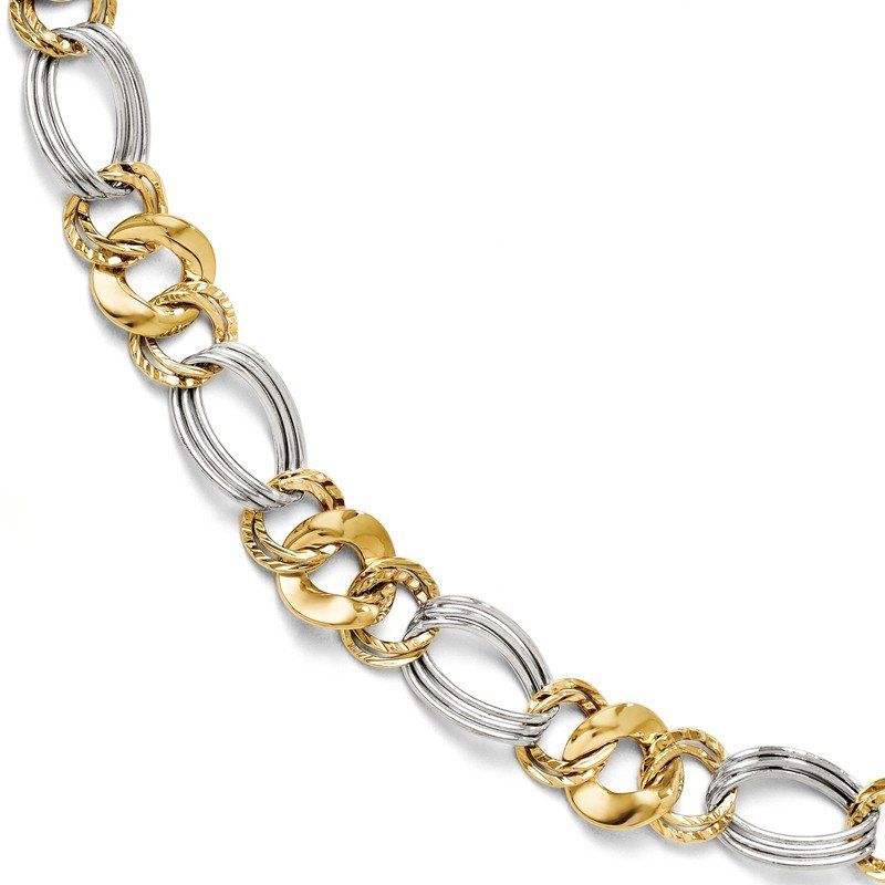 Leslie's Leslie's 14k Two-tone Polished and Textured Fancy Link Bracelet