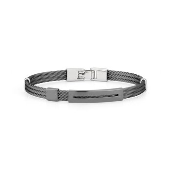 Black Cable Bracelet with Open Rectangular Steel Station