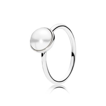 Luminous Droplet Ring, White Crystal Pearl