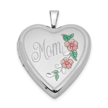 Sterling Silver Rhodium-plated 20mm Enameled Floral Mom Heart Locket