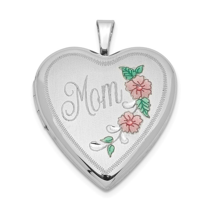 Quality Gold Sterling Silver Rhodium-plated 20mm Enameled Floral Mom Heart Locket