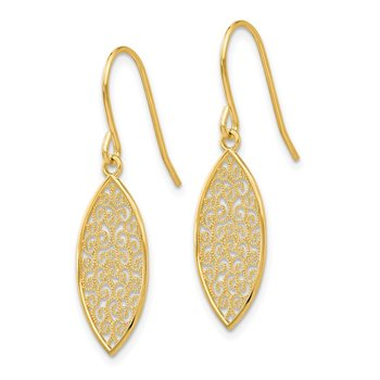 14k Fancy Filigree Teardrop Dangle Earrings