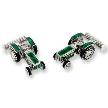 Green Tractor Swivel Cufflinks.Sterling Silver