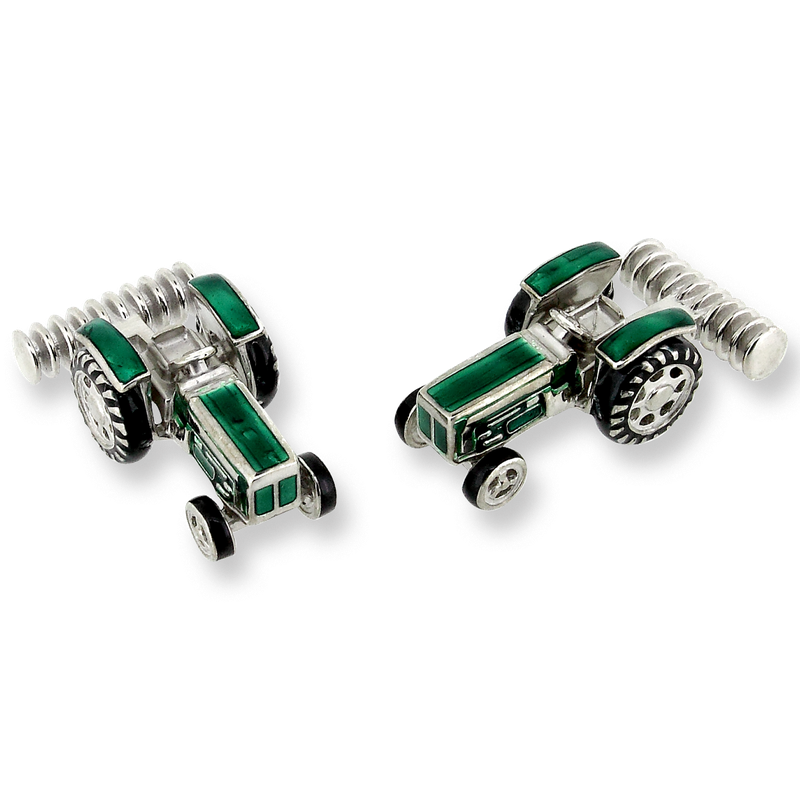 Nicole Barr Designs Sterling Silver Tractor Elbow Cufflinks-Green
