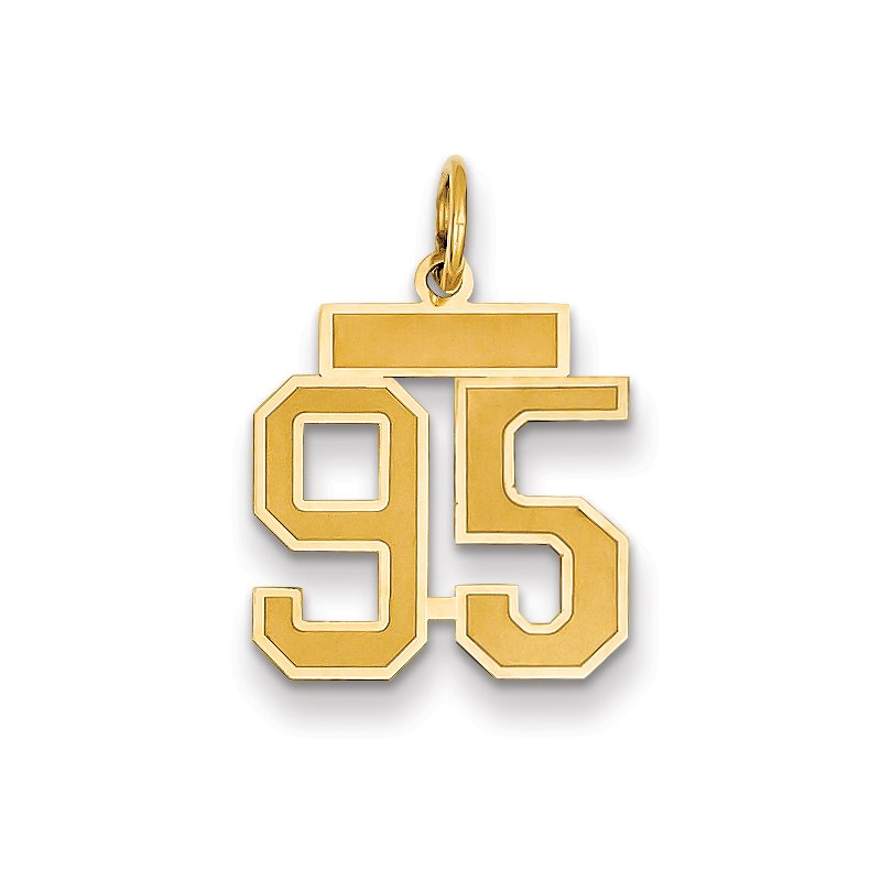Quality Gold 14k Small Satin Number 95 Charm