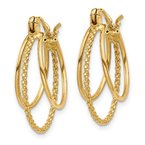 Quality Gold 14k Polished and Textured Circle Hoop Earrings
