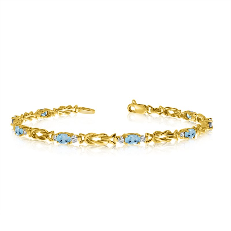 Color Merchants 14K Yellow Gold Oval Aquamarine and Diamond Bracelet
