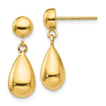 14k Teardrop Hollow Post Dangle Earrings
