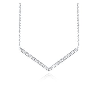 14K Diamond V Necklace