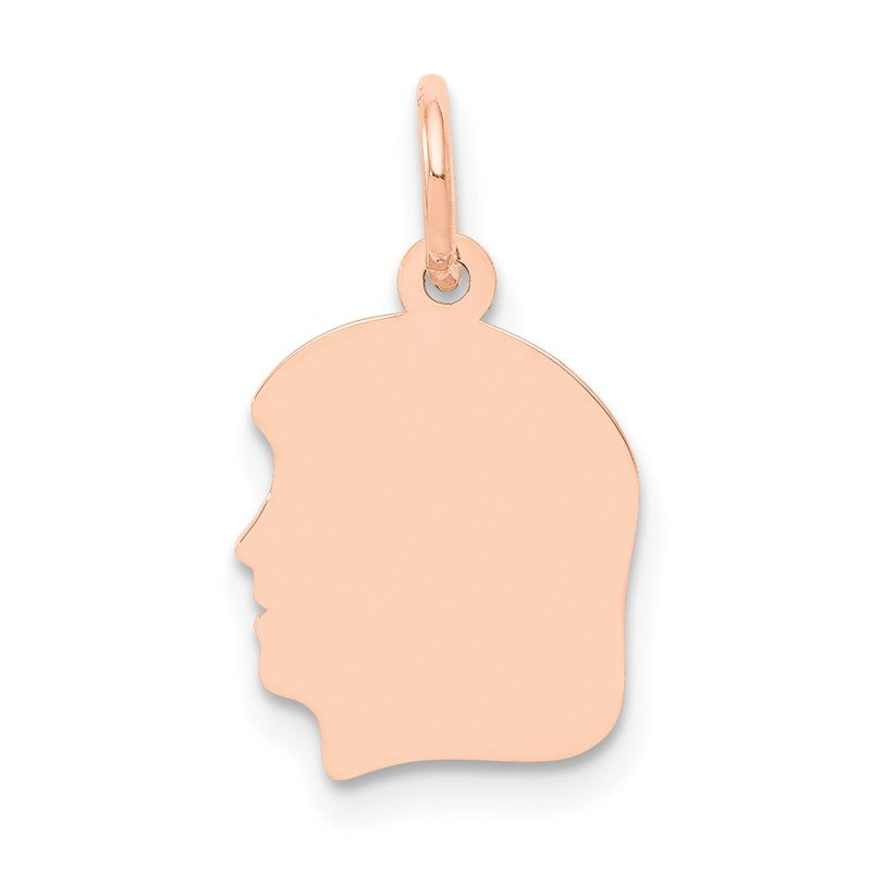 Quality Gold 14k Rose Plain Small.011 Depth Facing Left Engraveable Girl Head Charm