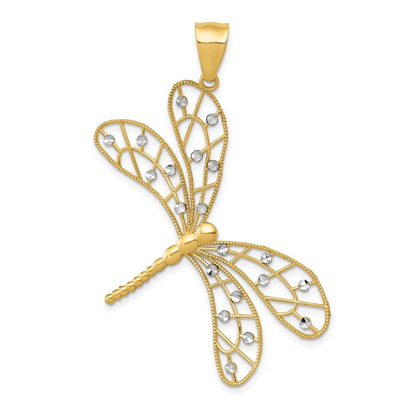 Quality Gold 14k w/Rhodium Polished D/C Filigree Dragonfly Pendant