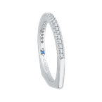 Carizza 14K White Gold Round Diamond Half Eternity Euro shank Wedding Band
