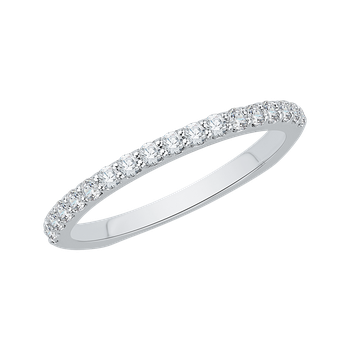 14K White Gold Round Diamond Half Eternity Euro shank Wedding Band
