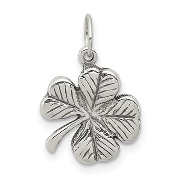 Sterling Silver Antiqued 4-Leaf Clover Charm