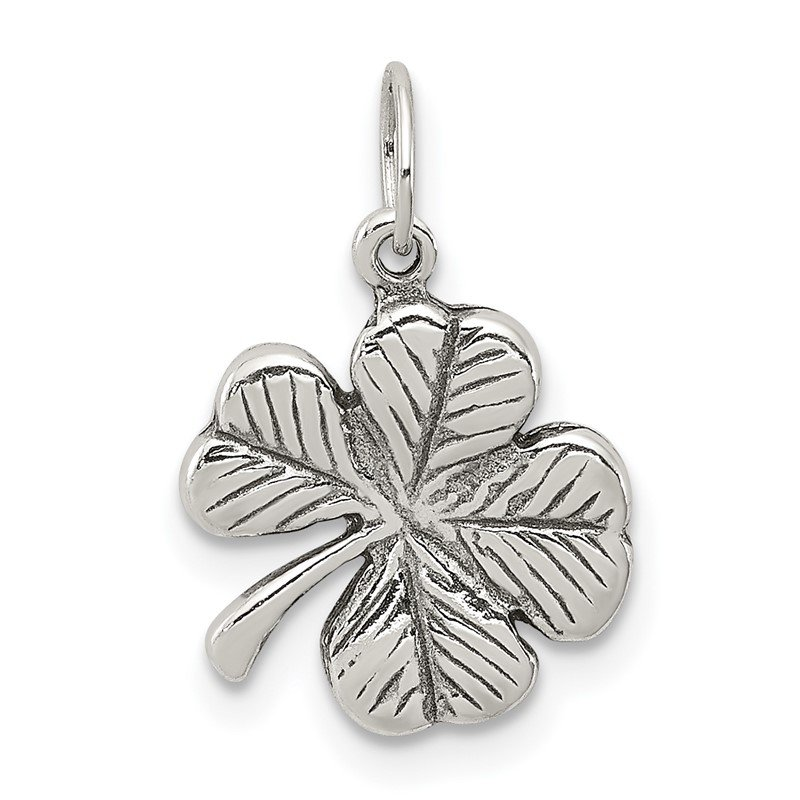 Quality Gold Sterling Silver Antiqued 4-Leaf Clover Charm