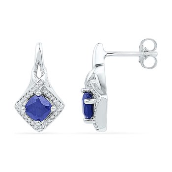 10kt White Gold Womens Round Lab-Created Blue Sapphire Stud Earrings 2.00 Cttw