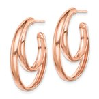Arizona Diamond Center Collection Sterling Silver RH plated Rose Gold-plated 28x3.5 Hoop Post Earrings