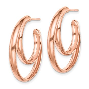 Sterling Silver RH plated Rose Gold-plated 28x3.5 Hoop Post Earrings
