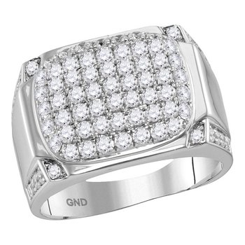 10kt White Gold Mens Round Diamond Rectangle Cluster Fashion Ring 2.00 Cttw