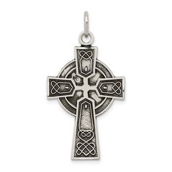 Sterling Silver Antiqued Satin Irish Cross Pendant