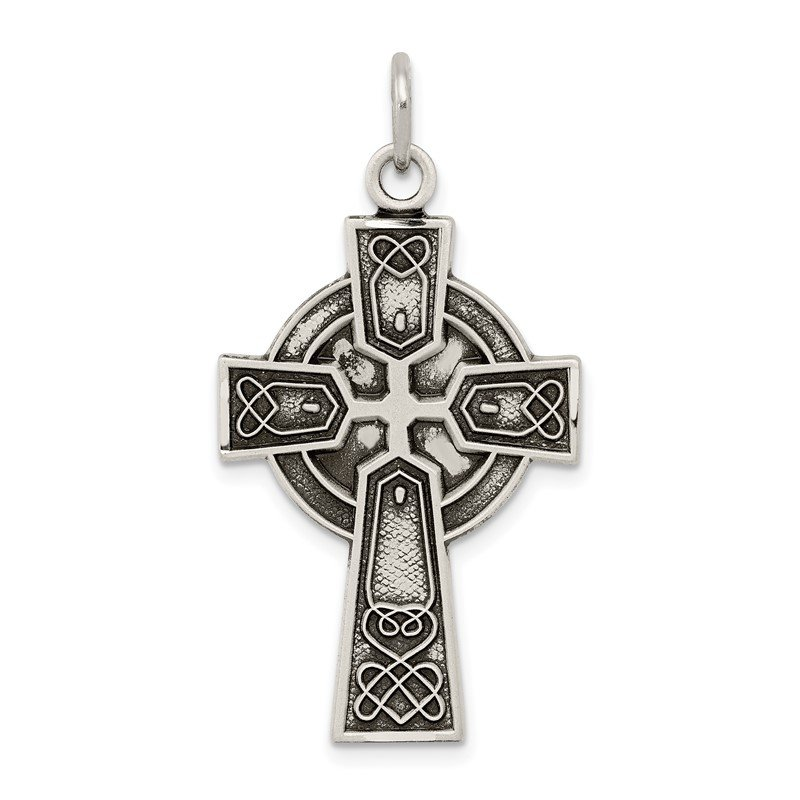 Quality Gold Sterling Silver Antiqued Satin Irish Cross Pendant
