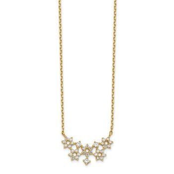 14K CZ Cluster with 2IN EXT Necklace