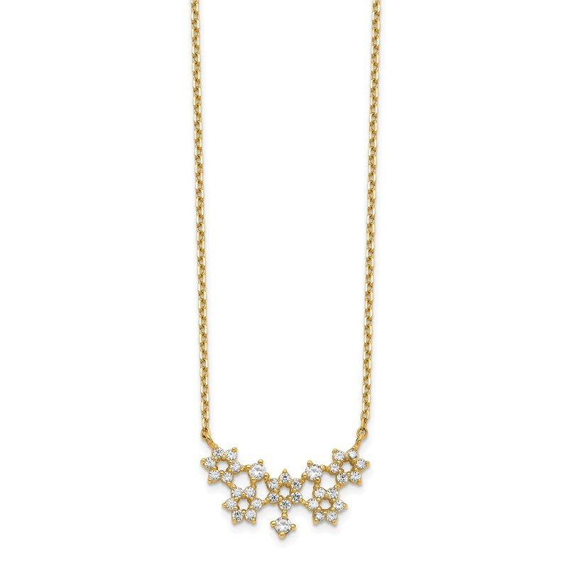 Quality Gold 14K CZ Cluster with 2IN EXT Necklace