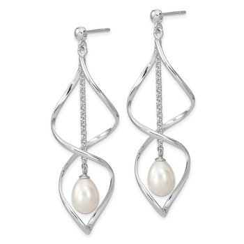 Sterling Silver Rhodium-plated 7-8mm White Rice FWC Pearl Dangle Earring