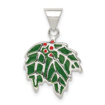 Sterling Silver Enameled Holly Charm