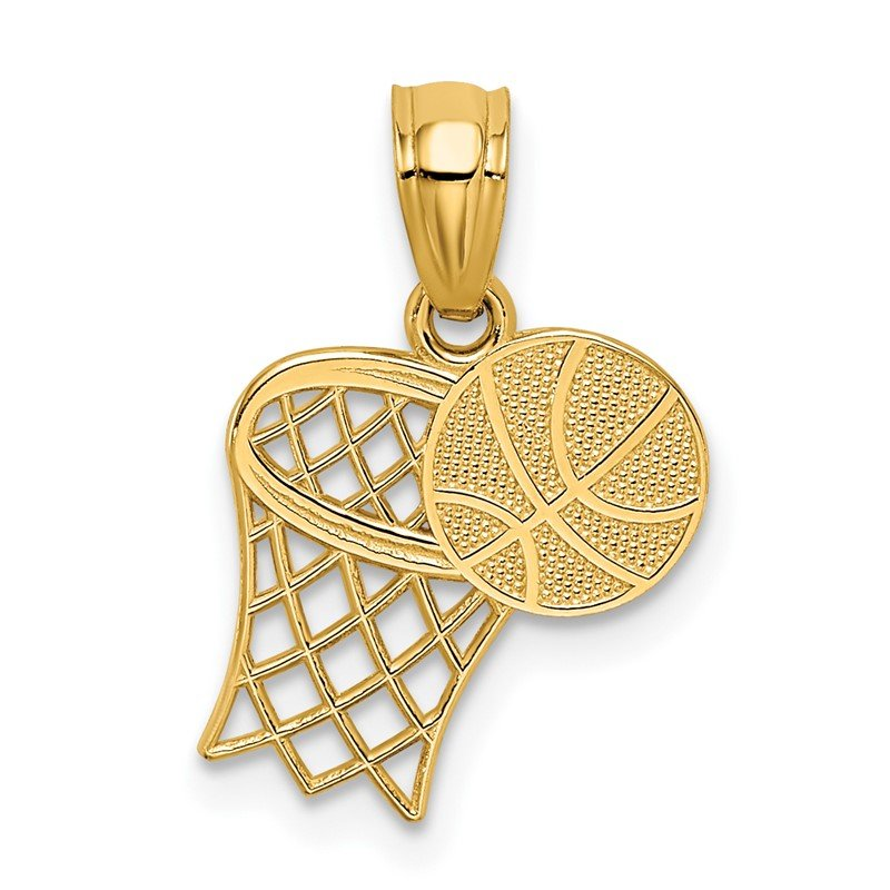 Quality Gold 14K Basketball and Hoop Pendant