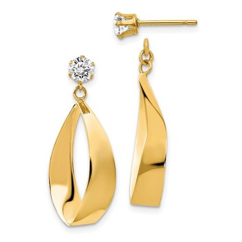 14k Polished Oval Dangle with CZ Stud Earring Jackets