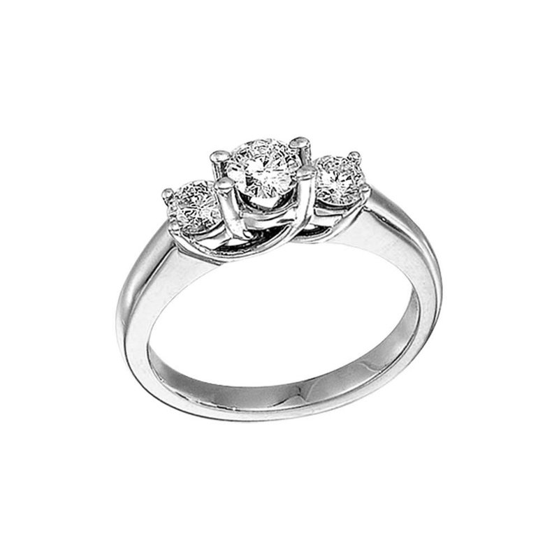 Color Merchants 14k White Gold 1.00 Ct Three Stone Trellis Diamond Ring