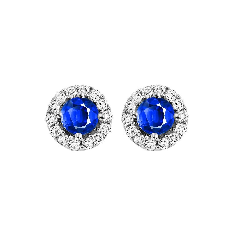 Gems One Round Sapphire & Diamond Halo Stud Earrings in 14K White Gold (1/7 ct. tw.)
