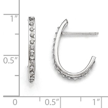 14k White Gold Diamond Fascination Hoop Earrings
