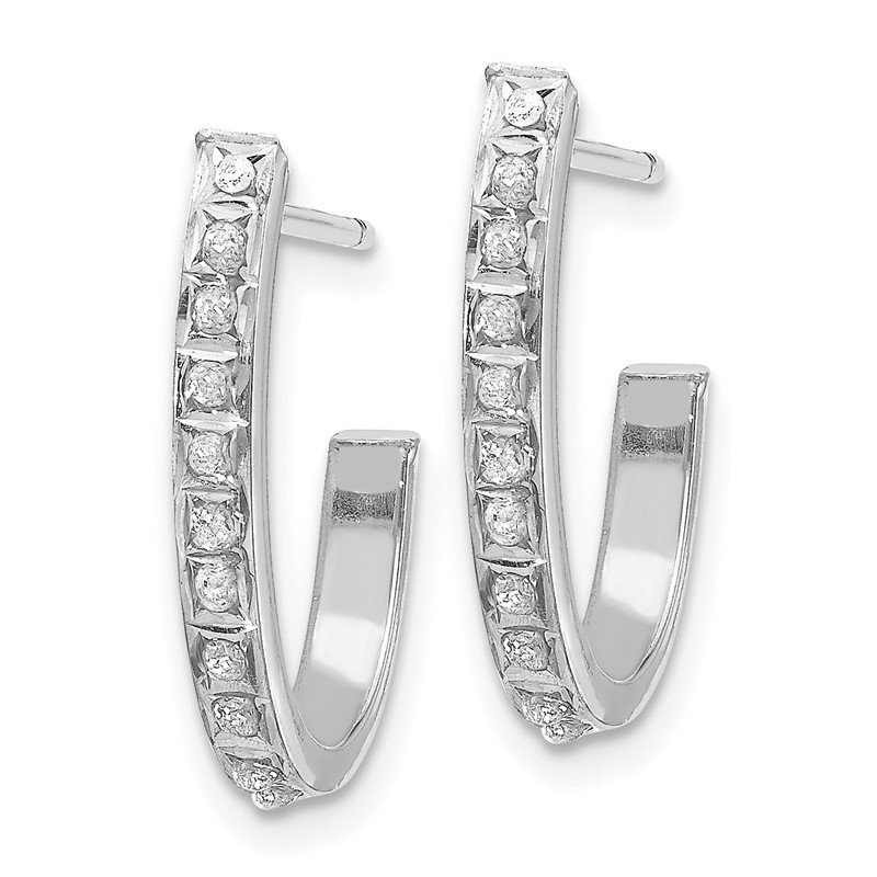 JC Sipe Essentials 14k White Gold Diamond Fascination Hoop Earrings