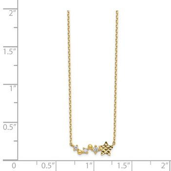 14K Diamond-Cut Star CZ with 2IN EXT Necklace