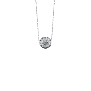 18KT GOLD HALF BALL DIAMOND PAVE MARQUISE PENDANT