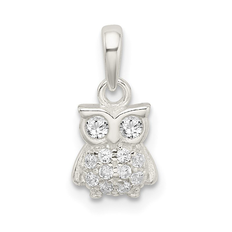 Quality Gold Sterling Silver CZ Owl Pendant