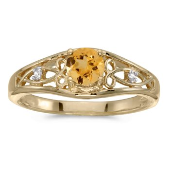 10k Yellow Gold Round Citrine And Diamond Ring