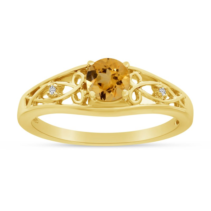 Color Merchants 10k Yellow Gold Round Citrine And Diamond Ring
