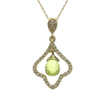 14k Yellow Gold Peridot Broilette Pendant
