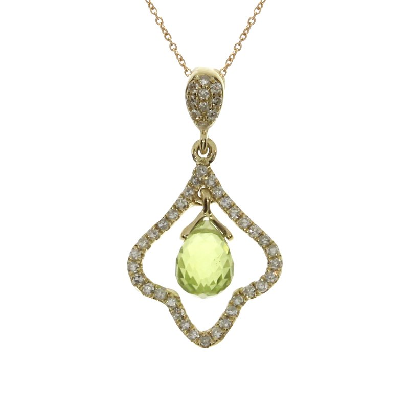 Color Merchants 14k Yellow Gold Peridot Broilette Pendant