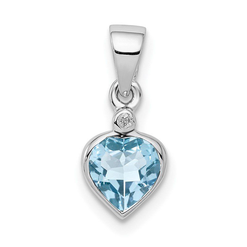 Quality Gold Sterling Silver Rhodium Light Swiss Blue Topaz Diamond Pendant