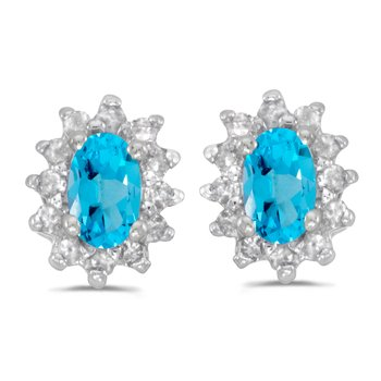 10k White Gold Oval Blue Topaz And Diamond Earrings