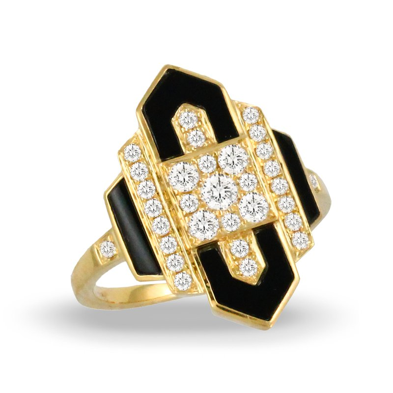 Doves Gatsby Onyx & Diamond Ring 18KY