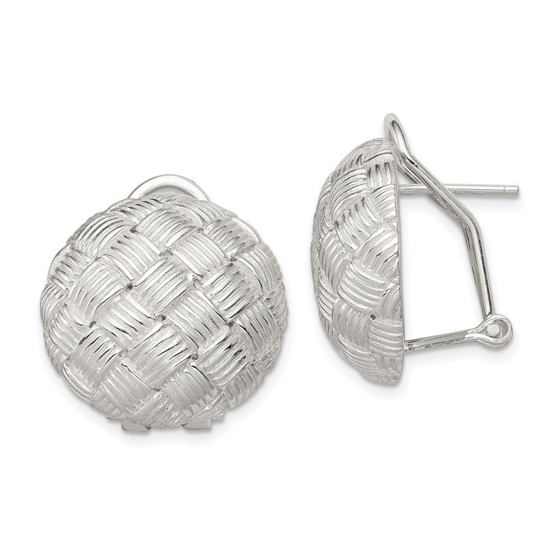 Quality Gold Sterling Silver Round Fancy Omega Back Earrings